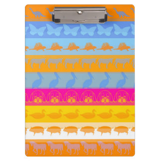 Retro Colorful Animals Modern Stripes Pattern #7 Clipboard