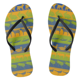 Retro Colorful Animals Modern Stripes Pattern #7 Flip Flops