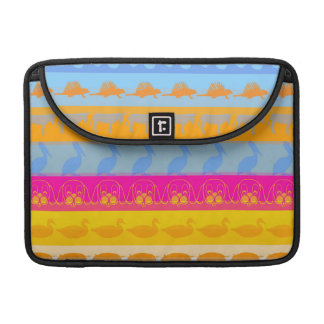 Retro Colorful Animals Modern Stripes Pattern #7 Sleeve For MacBooks