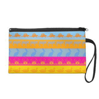 Retro Colorful Animals Modern Stripes Pattern #7 Wristlet