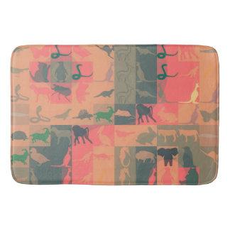 Retro Colorful Animals Modern Stripes Pattern #8 Bath Mat