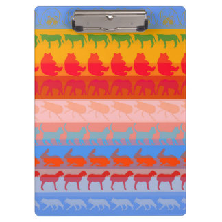 Retro Colorful Animals Modern Stripes Pattern #8 Clipboard