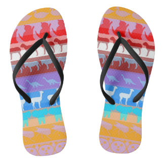 Retro Colorful Animals Modern Stripes Pattern #8 Flip Flops
