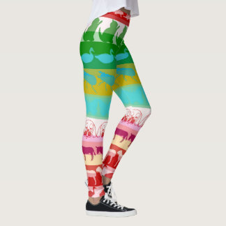 Retro Colorful Animals Modern Stripes Pattern #8 Leggings