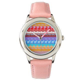 Retro Colorful Animals Modern Stripes Pattern #8 Watch