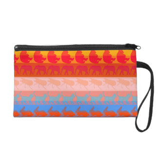 Retro Colorful Animals Modern Stripes Pattern #8 Wristlet