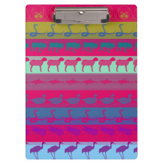 Retro Colorful Animals Modern Stripes Pattern #9 Clipboard