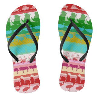 Retro Colorful Animals Modern Stripes Pattern #9 Flip Flops