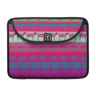 Retro Colorful Animals Modern Stripes Pattern #9 Sleeve For MacBook Pro