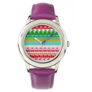 Retro Colorful Animals Modern Stripes Pattern #9 Watch