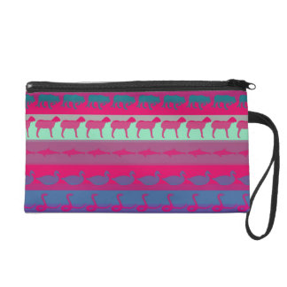 Retro Colorful Animals Modern Stripes Pattern #9 Wristlet