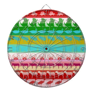 Retro Colorful Animals Modern Stripes Pattern Dartboard