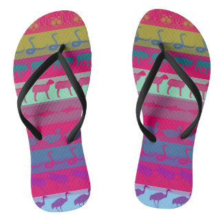 Retro Colorful Animals Modern Stripes Pattern Flip Flops