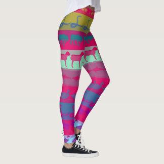 Retro Colorful Animals Modern Stripes Pattern Leggings