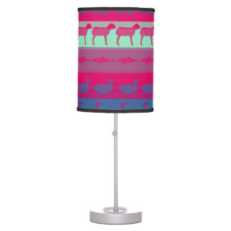 Retro Colorful Animals Modern Stripes Pattern Table Lamp