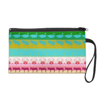 Retro Colorful Animals Modern Stripes Pattern Wristlet