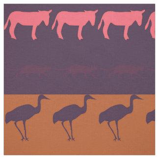 Retro Colorful Animals Pattern #2 Fabric