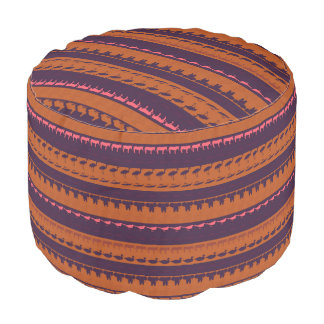 Retro Colorful Animals Pattern #2 Pouf