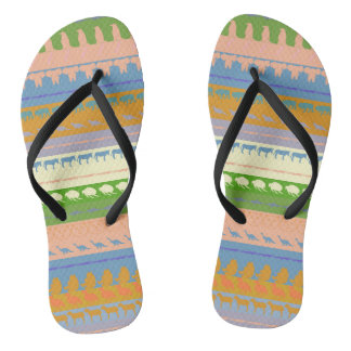 Retro Colorful Animals Pattern #3 Flip Flops