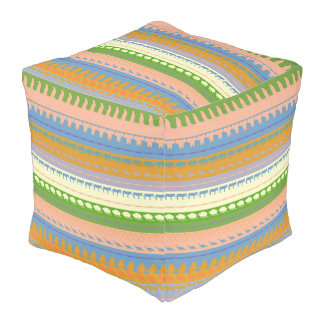 Retro Colorful Animals Pattern #3 Pouf
