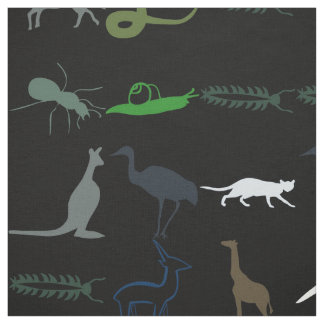 Retro Colorful Animals Pattern #5 Fabric