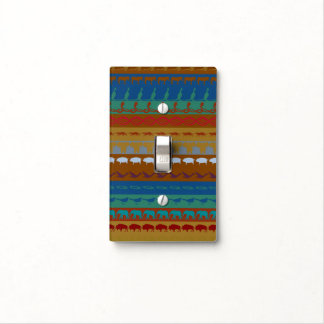 Retro Colorful Animals Pattern #6 Light Switch Cover