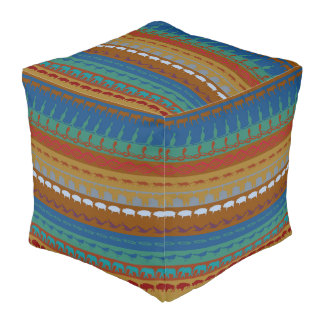 Retro Colorful Animals Pattern #6 Pouf