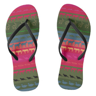 Retro Colorful Animals Pattern #7 Flip Flops