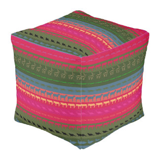 Retro Colorful Animals Pattern #7 Pouf