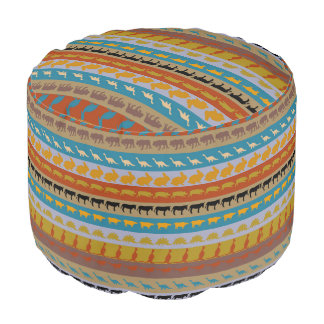 Retro Colorful Animals Pattern #8 Pouf