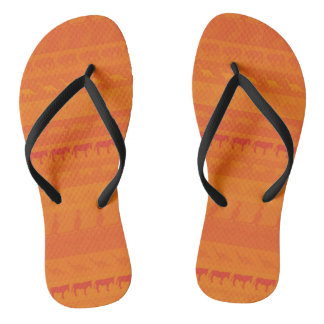 Retro Colorful Animals Pattern #9 Flip Flops