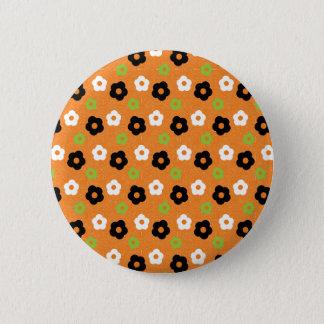Retro Colorful Autumn Flower Power Pattern 2 Inch Round Button