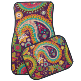 Retro Colorful Beautiful Boho Bohemian Paisley Floor Mat