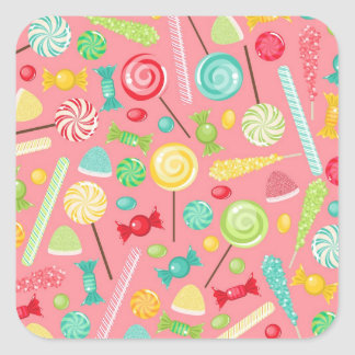 Retro Colorful Candy Pattern Square Sticker