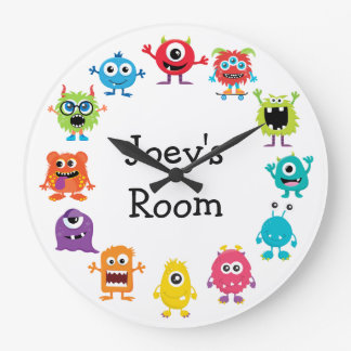 Retro Colorful Custom Personalized Monster Clock