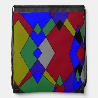 Retro Colorful Diamond Abstract Drawstring Bag