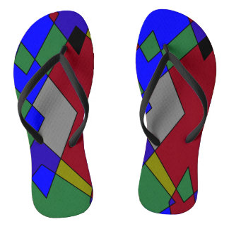 Retro Colorful Diamond Abstract Flip Flops