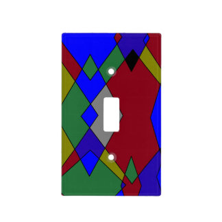 Retro Colorful Diamond Abstract Light Switch Cover