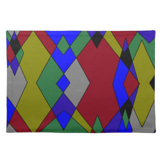 Retro Colorful Diamond Abstract Placemat