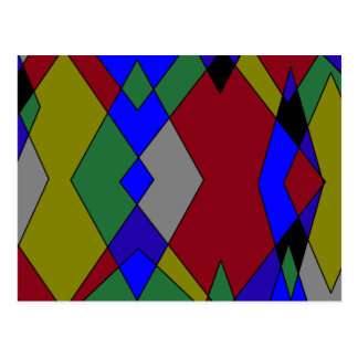 Retro Colorful Diamond Abstract Postcard