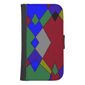 Retro Colorful Diamond Abstract Samsung S4 Wallet Case