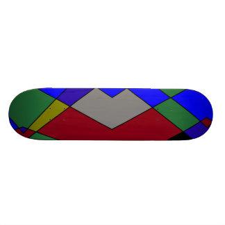 Retro Colorful Diamond Abstract Skateboard Deck