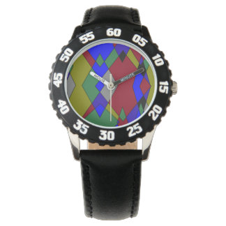 Retro Colorful Diamond Abstract Watch