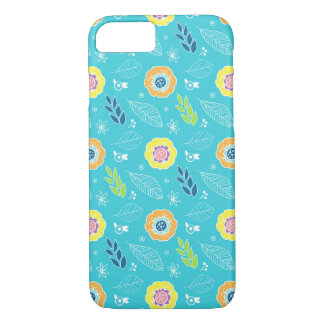 Retro Colorful Flowers Illustration Pattern iPhone 7 Case