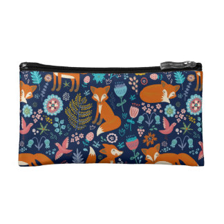Retro Colorful Foxes & Flowers Pattern Cosmetic Bag
