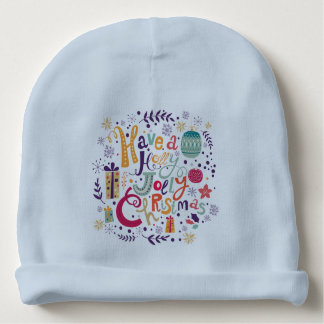 Retro Colorful Holly Jolly Christmas Text Baby Beanie