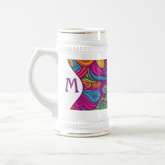 Retro Colorful Jewel Tone Swirly Wave Pattern Beer Stein