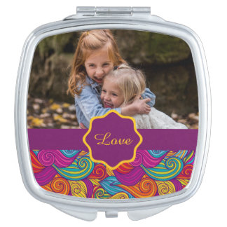 Retro Colorful Jewel Tone Swirly Wave Pattern Compact Mirror