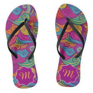 Retro Colorful Jewel Tone Swirly Wave Pattern Flip Flops