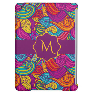 Retro Colorful Jewel Tone Swirly Wave Pattern iPad Air Covers